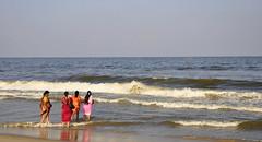 Colours of India (mala singh) Tags: sea india women waves colours chennai bayofbengal sarees