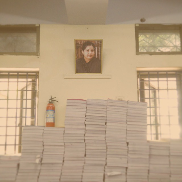 Despite being convicted of #corruption charges, #amma s photo still hangs at the local registrars office. #chennailovesamma #jayalalitha #ammalove