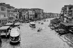 Hustle & Bustle (Churchy123) Tags: bridge venice bw italy water mono boat canal gondola