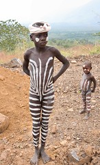 Mursi Boys, Mago, Ethiopia (Rod Waddington) Tags: africa park two portrait boys face body african stripes painted traditional valle tribal national valley afrika ethiopia tribe ethnic mago mursi ethnicity afrique ethiopian etiopia