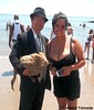 Dr. Takeshi Yamada, Seara (sea rabbit) and mermaid at the Coney Island Beach in Brooklyn, New York on July 25, 2014. 20140725 100_3409===CC