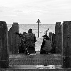 28052015 (M N Edwards) Tags: wood boy sea sky people white man black contrast 35mm jump fishing nikon jetty dive streetphotography aberystwyth rod 365 talking d3000