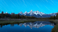 Framed (Flint Roads) Tags: grandtetonnationalpark schwabacherslanding usa wy wyoming blue bluesky green lake longexposure mountains night nightsky reflection snow startrails stars water