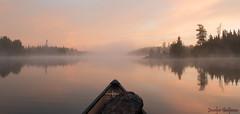 LE BONHEUR EST UN CANOT (jocelyn.galipeau) Tags: canot lac paysage lever de soleil brouillard brume landscape sunrise mist fog canoe paddling nature