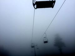 far far away (betlfreyaildottir) Tags: misty gray mountain tree sky wheather cable car rope railway ropeway cableway telpher foggy fog fogged high top