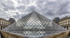 Le Louvre (loicciaux) Tags: lighting city windows france museum architecture clouds landscape louvre pyramide