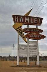 Hard times haunt the Hamlet - Amarillo, Texas (Lights in my hometown) Tags: amarillo texas vintage shopping center sign roadside midcentury fading americana