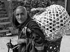 Kohima - Man with basket (sharko333) Tags: travel voyage reise asia asie asien  nagaland indien kohima street man basket bw olympus em1
