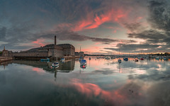 On The Waterfront (Jerry Fryer) Tags: royalwilliamyard stonehousecreek hamoaze tamar plymouth devon cornwall england reflections seascape boats marina sunset dusk calm clouds coast pink sky victuallingyard devonport sea canon 6d ef1635mmf4l leefilters 6gndhard panorama buoyant yearend16