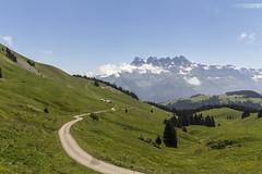 Alpine-tastic 3 (JoshJackson84) Tags: canon60d sigma18250mm europe france hautesavoie savoie alps alpine portesdisoleil chtel switzerland morgins dentsdumidi mountain mountains green pasture road winding blue sky