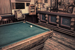 Vintage Billiards (Scott Sanford) Tags: old vintage weathered aged nostalgic pool textureeffects billiards wood felt bar games woodfloor travel trip vacation summer colorado montrose canon eos ef2470mmf28lusm 6d topazlabs art artistic
