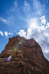 ship rock (almostsummersky) Tags: rock flare sandstone formation monolith clouds rays redrocks morrison upward tree travel sun sunrays colorado sky rocks summer redrocksamphitheatre layers shiprock unitedstates us