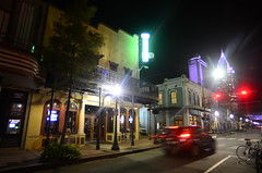 Dauphin Street (Christopher Wallace) Tags: mobile alabama city southern south deepsouth bars restaurants night signs neon color colorful car nikon d7000 vr wideangle superwideangle ultrawideangle 14mm dauphin street dauphinstreet light lights bike pretty beautiful