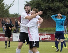 Agony and ecstasy as Calum Gow and Peter McGill celebrate taking the lead (Stevie Doogan) Tags: clydebank glasgow perthshire exsel group sectional league cup wednesday 10th august 2016 holm park