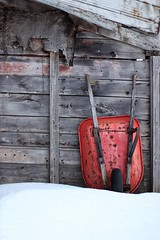 old red (s@ssyl@ssy) Tags: red snow barn rust wheelbarrow barnboard