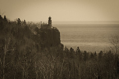 Split Rock Lighthouse on Lake Superior in April (silentspace2000) Tags: park lighthouse white lake black water minnesota rock landscape spring fuji state north superior national shore split xf 55200mm fujixe1