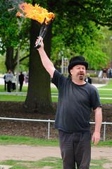 Magic Steve, Stratford-upon-Avon (SkylarkUK) Tags: uk england fire streetperformer juggling juggler performer warwickshire stratford straforduponavon