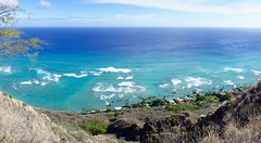 Surfs Up.... (setoboonhong ( on and off )) Tags: travel trees sea nature landscape island volcano hawaii surf waves view pacific oahu outdoor head horizon hill spot tourist diamond trail crater shore rim extinct