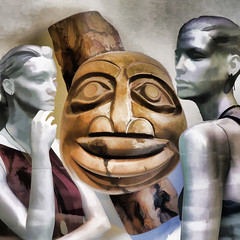At the Exhibition (Lemon~art) Tags: wood texture mannequin face thought manipulation woodcarving kreativepeople treatthis
