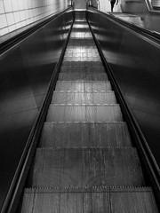 Empty escalator (yousufkurniawan) Tags: blackandwhite monochrome escalator line symmetric