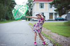 Happy summer time (salas-3) Tags: summer happy photoshoot nikon finlan kasko street house umbrella dress pose fun 50mm