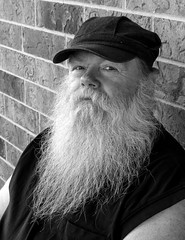 Gary (J Wells S) Tags: portrait blackandwhite bw monochrome hat beard indiana stare fortwayne candidportrait redroofinn