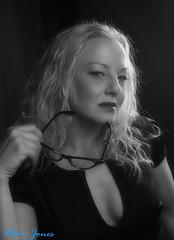 Louise (Allan Jones Photographer) Tags: louise model modelshoot bw blonde blond sexy secretary woman female face glasses spectacles nicehair cleavage blackdress stare staring allanjonesphotographer canon5d3 canonef24105mmf4lisusm goodphoto