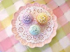 Crocheted Bon Bons (retro_girl_design) Tags: crochet handmade play food pretend kids tea party fun cute etsy retrogirldesign pastel