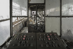 Never never land (Kriegaffe 9) Tags: buttons glass controls panels mine industry dirty grime