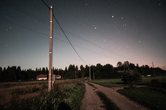 Nighty road (LooreEST) Tags: road moonlight light golden sky stars night nightysky posts loodus galaxy shine