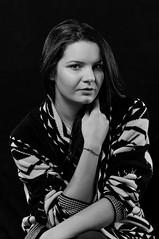 Warm & Cozy (> Mr.D Photography) Tags: portrait warm cozy sweater woolly girl bw black white nikon d5000 lights low key nikkor 85 85mm 18 strobist speedlight yongnuo yn 560iii 560tx hair light strobe flash softbox reflector vanguard alta pro 253ct