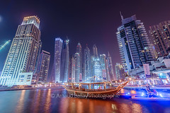 Dubai Marina (http://arnaudballay.wix.com/photographie) Tags: dubai landscape uae miratsarabesunis ae marina tourism vacation dubaimarina pier1 marinawalk seascape nd1000 emirates cayantower princesstower buildings architecture skyscrapper nikon d610 boat dhow dow