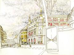 Paris_IXe-Bld-Haussmann-Printemps (velt.mathieu) Tags: paris france architecture sketch printemps croquis