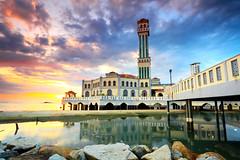 Sunrise at Tanjung Bungah Floating Mosque. (Kamaruz Zaman) Tags: colour canon landscapes scenery colours seascapes mosque malaysia slowshutter colourful penang muslims sunrises cpl canonphotography artofnature canon7d singhrayfilter