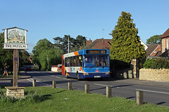 A dash and a Dart, Bromham. (Jason 87030) Tags: road camera blue light sky people woman sun bus girl grass sign bedford village shot legs beds wheels group bedfordshire running driver 40 welcome publictransport jogging dart jogger stagecoach adl 2015 bromham 34831 kx06jyo