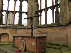 Coventry Cathedral Ruins (pefkosmad) Tags: uk england church memorial ruins war cathedral statues worldwarii damage coventry blitz sculptures bombing warwickshire secondworldwar coventrycathedral