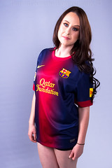 Shanice in Barcelona shirt. (Dubspotter2015) Tags: barcelona ireland portrait irish game beautiful beauty smile canon studio football spain eyes barca european legs stadium soccer nike stunning fc campnou basque spainish canon1785mm qatarfoundation canon7d