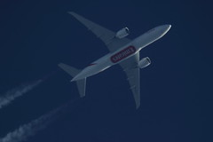 A6-EFO (Rob390029) Tags: travel blue sky travelling plane flying high contrail top aircraft aviation transport flight over jet trails cargo emirates trail civil transportation boeing traveling airborne contrails 777 ott civilian trailing