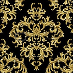 Seamless from plant (arieana7) Tags: seamless plant background leaf black vintage gold ornament texture retro pattern damask floral effortless vector swirl curve design illustration repetition vintagepattern textile style backdrop wrapping wallpaper shape abstract classic damaskpattern