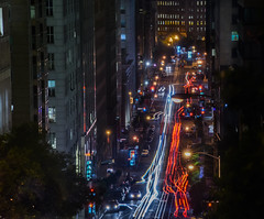 late night downtown movements (pbo31) Tags: california bayarea nikon d810 august 2016 summer boury pbo31 color sanfrancisco night dark over view lightstream motion traffic roadway infinity black californiastreet nobhill financialdistrict cbd