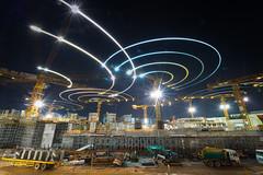 Construction Cranes (BP Chua) Tags: longexposure light building night landscape photography construction nikon singapore asia trails structures cranes