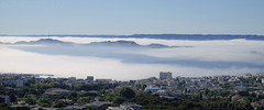 Marseille (fredomarseille) Tags: panorama mer france soleil marseille eau ile provence t vue brouillard brume sud chaleur bouchesdurhone rade mditrrane