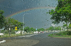 Through the Window 001 (DMT@YLOR) Tags: storm window water glass car rain drops rainbow roundabout australia queensland ipswich goodna