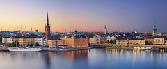 Stockholm. (Rudi1976) Tags: city travel sunset summer panorama house church water skyline architecture outdoors boat town twilight europe cityscape exterior waterfront sweden stockholm outdoor landmark scandinavia traveldestination