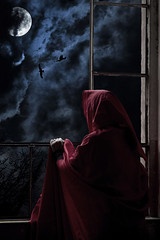Fantasy (Andrea Franceschina) Tags: red by clouds moonlight cloak obscured
