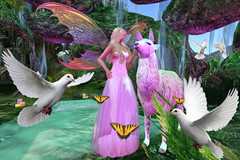 I Stand For Peace (Teddi Beres) Tags: second life sl stand peace llama fairy fae dove butterfly grotto phantasy rainbow
