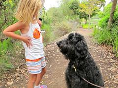 To shake or not to shake... (Bennilover) Tags: dogs dog labradoodle benni patting hugging children girls walking trail friends meeting greeting pawshaking handshaking