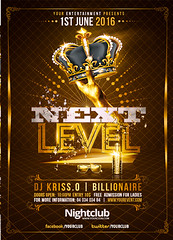Gold Party Next Level Flyer Template (Rome Creation) Tags: arm black blonde bottle club creation crown elegant event flyer girl glamour gold hip hop hot ladies level light man next night party poster rap rnb rome saturday sexy styles sunglasses template woman show romecreation flyers templates