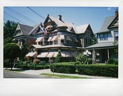 awnings (BehindBlueEyes) Tags: nj newjersey instantnj mercercounty film fujiinstax210 hightstown house traskavenue