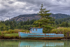 Derelict (Paul Rioux) Tags: britishcolumbia bc vancouverisland sooke harbour cooperscove derelict abandoned discarded boat vessel junk old decay decayed decaying delapidated clouds mountain trees outdoor water reflections prioux